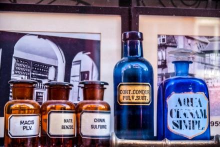 Pharmacy bottles in the window
